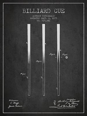 Billiard Sticks Digital Art - Billiard Cue Patent From 1879 - Charcoal by Aged Pixel