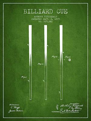 Billiard Sticks Digital Art - Billiard Cue Patent From 1879 - Green by Aged Pixel