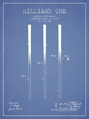 Billiard Sticks Digital Art - Billiard Cue Patent From 1879 - Light Blue by Aged Pixel