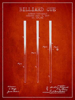 Billiard Sticks Digital Art - Billiard Cue Patent From 1879 - Red by Aged Pixel