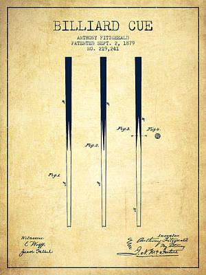 Billiard Sticks Digital Art - Billiard Cue Patent From 1879 - Vintage by Aged Pixel