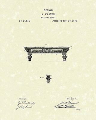 Pool Drawing - Billiard Table 1884 Patent Art by Prior Art Design