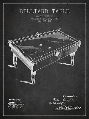 Billiard Sticks Digital Art - Billiard Table Patent From 1880 - Charcoal by Aged Pixel