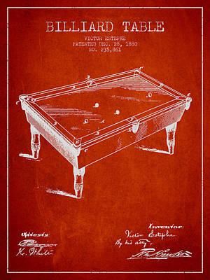 Billiard Sticks Digital Art - Billiard Table Patent From 1880 - Red by Aged Pixel
