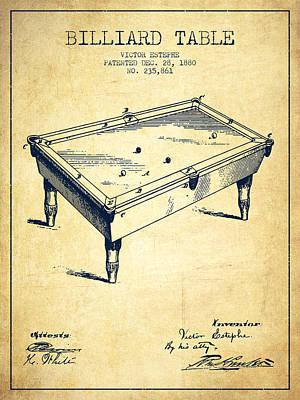 Billiard Sticks Digital Art - Billiard Table Patent From 1880 - Vintage by Aged Pixel