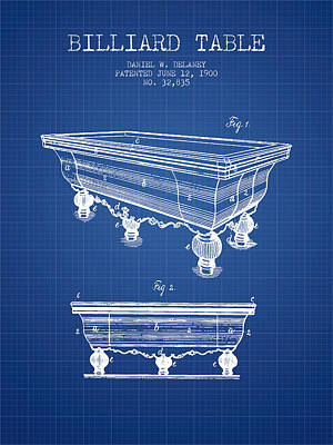 Billiard Sticks Digital Art - Billiard Table Patent From 1900 - Blueprint by Aged Pixel