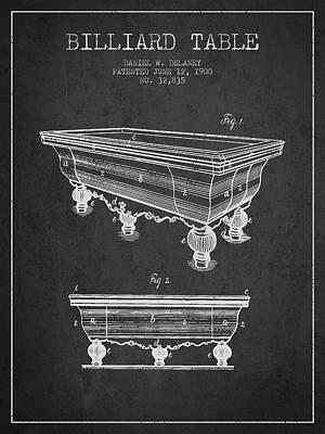 Billiard Sticks Digital Art - Billiard Table Patent From 1900 - Charcoal by Aged Pixel