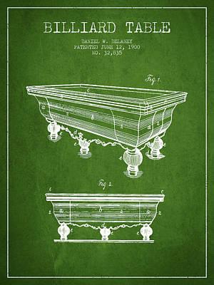 Billiard Sticks Digital Art - Billiard Table Patent From 1900 - Green by Aged Pixel