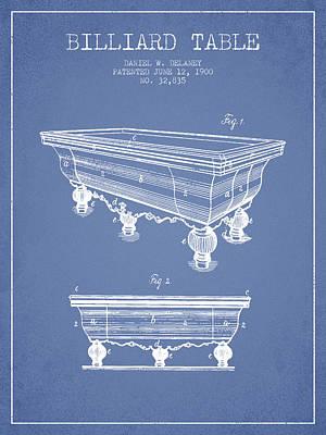 Billiard Sticks Digital Art - Billiard Table Patent From 1900 - Light Blue by Aged Pixel