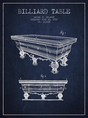 Billiard Sticks Digital Art - Billiard Table Patent From 1900 - Navy Blue by Aged Pixel