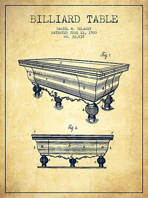 Billiard Sticks Digital Art - Billiard Table Patent From 1900 - Vintage by Aged Pixel