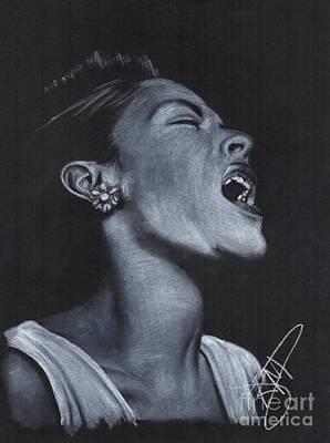 Markle Drawing - Billie Holiday by Rosalinda Markle