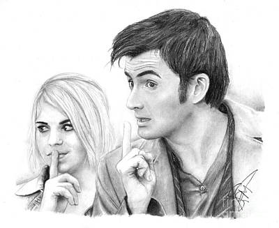 Doctor Who Drawing - Billie Piper And David Tennant 2 by Rosalinda Markle