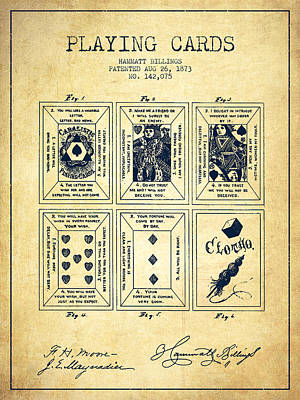 Casino Digital Art - Billings Playing Cards Patent Drawing From 1873 - Vintage by Aged Pixel