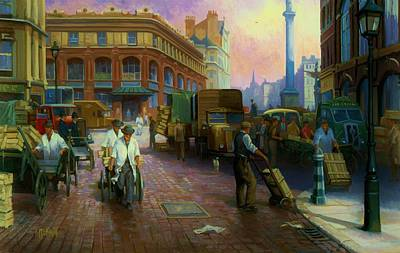Streetscenes Painting - Billingsgate Fish Market. by Mike  Jeffries
