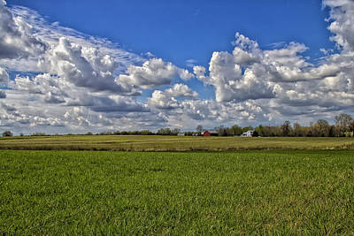 Billow Skies On Green Print by Bill Tiepelman