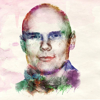 Billy Corgan Watercolor Print by Marian Voicu