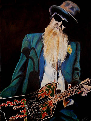 Zz Drawing - Billy Gibbons by Chris Benice