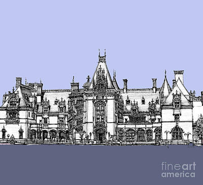 Asheville Artist Drawing - Biltmore Estate In Blues by Adendorff Design