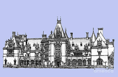 Asheville Artist Drawing - Biltmore Estate In Light Blue by Adendorff Design