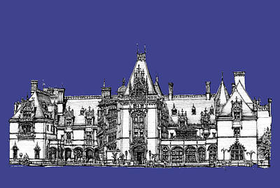 Asheville Artist Drawing - Biltmore Estate In Royal Blue by Building  Art