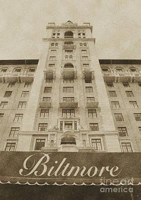 Landmarks Digital Art - Biltmore Hotel Miami Coral Gables Florida Exterior Awning And Tower Vintage Digital Art by Shawn O'Brien