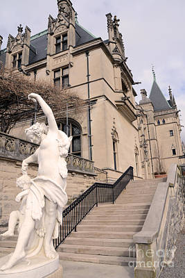 Biltmore Mansion Estate Italian Architecture And Sculptures Statues Print by Kathy Fornal