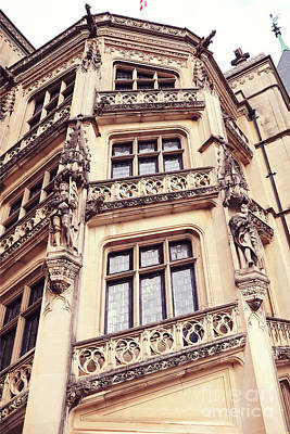 Biltmore Mansion Estate Windows - Biltmore Mansion Gothic Italian Architecture Print by Kathy Fornal