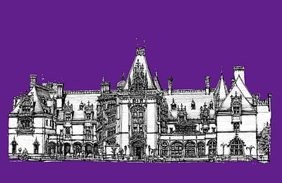Asheville Artist Drawing - Biltmore Stately Home In Purple by Building  Art