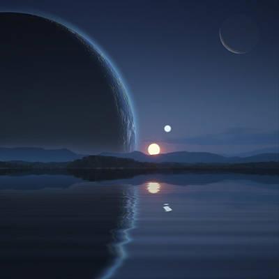 Exoplanet Mixed Media - Binary Sunset No.2 by Marc Ward