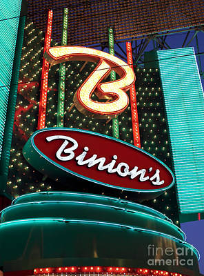 Freemont Street Photograph - Binions by John Rizzuto