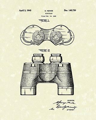 Glass Art Drawing - Binocular 1945 Patent Art by Prior Art Design