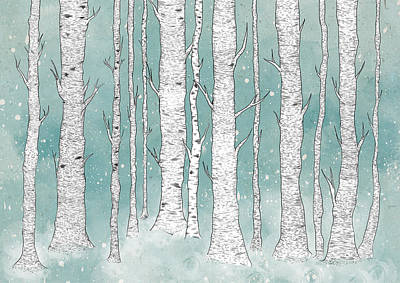 Winter Trees Digital Art - Birch Forest by Randoms Print