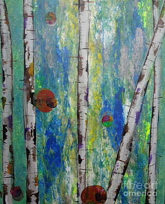 Forestry Painting - Birch - Lt. Green 4 by Jacqueline Athmann