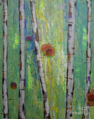 Forestry Painting - Birch - Lt. Green 5 by Jacqueline Athmann