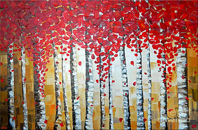 Hanging Mechanism Painting - Birch Trees  by Denisa Laura Doltu