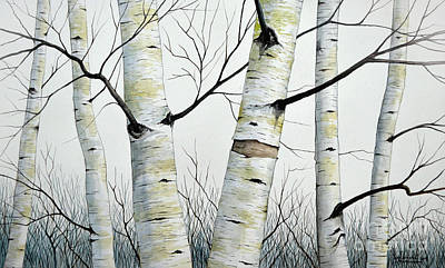 Forestry Painting - Birch Trees In The Forest By Christopher Shellhammer by Christopher Shellhammer