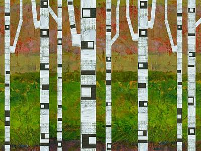 Digital Art - Birch Trees With Green Grass by Michelle Calkins