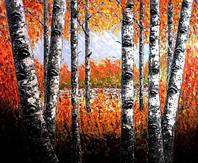 Birches Forest Palette Knife Painting Print by Georgeta Blanaru
