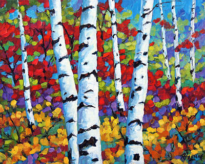 Birches In Abstract By Prankearts Print by Richard T Pranke