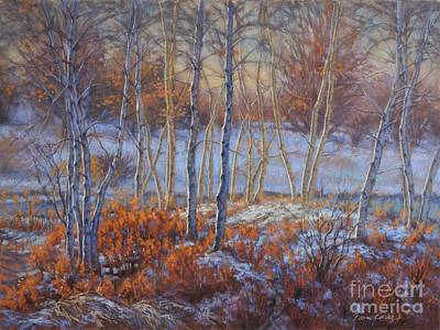 Birches In First Snow Print by Fiona Craig