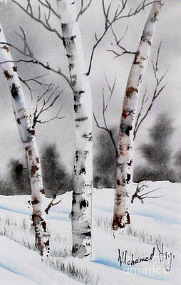 Serenity Scenes Painting - Birches by Mohamed Hirji