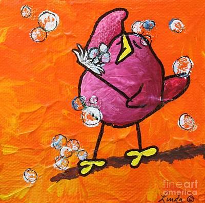 Limbbirds Painting - Bird Bath #3 by LimbBirds Whimsical Birds