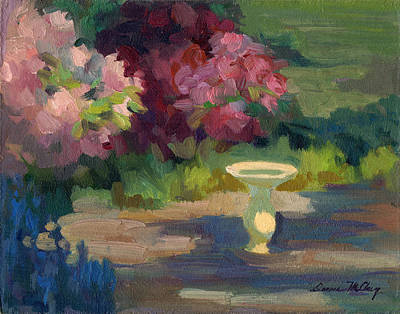 Bird Bath And Rhodies Print by Diane McClary