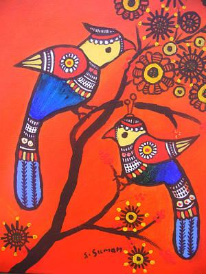Madhubani Painting - Bird Couple-children Room Decoration by Shishu Suman