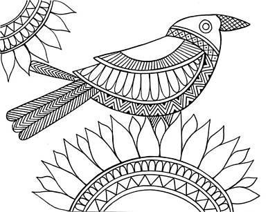 Sunflowers Drawing - Bird Crow by Neeti Goswami