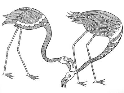 Birds Drawing - Bird Flamingos 2 by Neeti Goswami