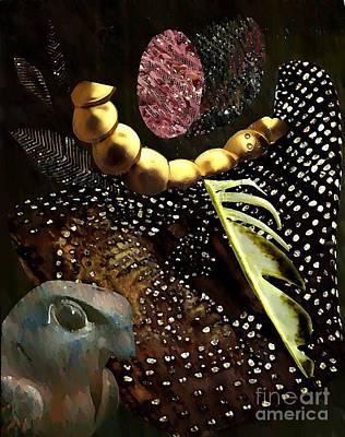 Brown Tones Mixed Media - Bird God by Sarah Loft