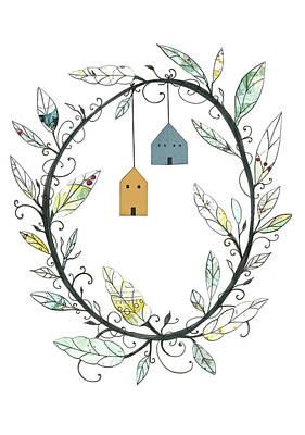 Wreath Painting - Bird Houses And Wreath by Sarah Ogren