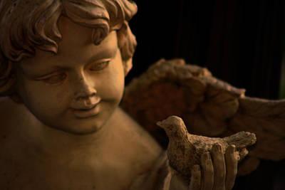 Angel Photograph - The Cherubs Conversation_bird In Hand by Lesa Fine